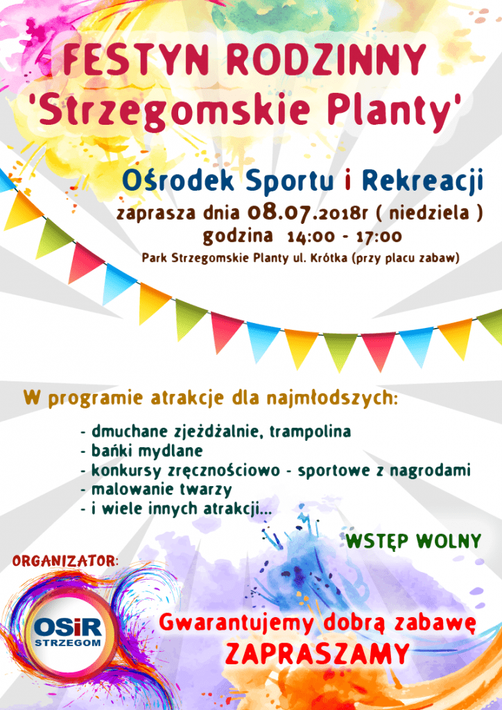 FESTYN RODZINNY - Strzegomskie Planty - organizator OSiR Strzegom