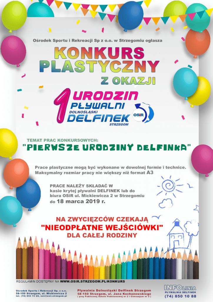 Konkurs plastyczny z okazji urodzin pływalni Dolnośląski Delfinek w Strzegomiu